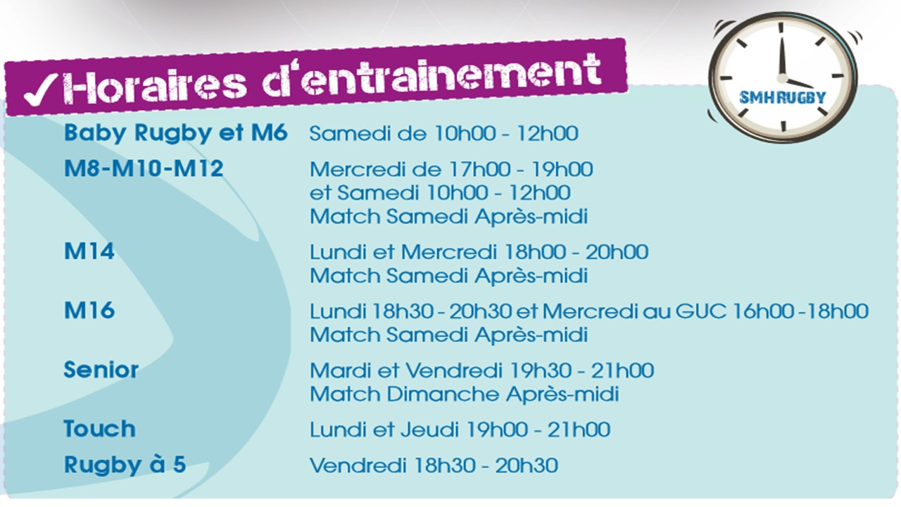 Horaires dentrainements EDR